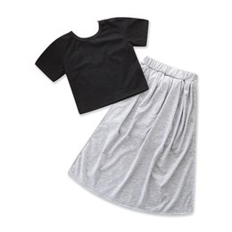 Cotton Black Trouser For Girls Australia - Black Short Sleeve Blouse Grey Skirt And Trousers Suit For Girls In Summer From China Suppplier