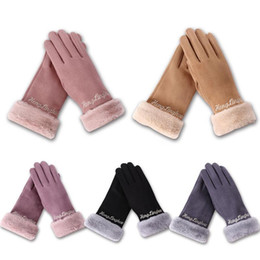$enCountryForm.capitalKeyWord Australia - Fashion Elegant Female Suede Touch Screen Gloves Winter Women Warm Full Finger Gloves For Outdoor Climbing Riding Skiing Hiking