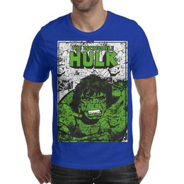 hulk printed t shirts Canada - The Incredible Hulk logo Comic content Mens T Shirts Crew Neck Short Sleeve Tees Tops blue