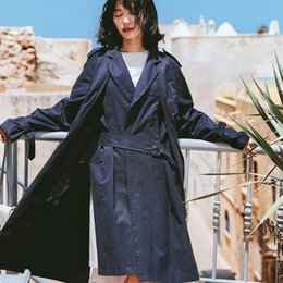 Discount overcoat spring for women - High Street Fashion Fake Two Piece Design Trench Coat For Women 2019 New Arrival Womens Long Overcoat Spring Coat With B