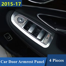 Discount mercedes window sticker - Car Window Glass Lifting Panel Decoration Cover Trim Aluminium Alloy 4pcs For Mercedes Benz C Class W205 GLC X253 2015-1