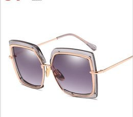 golden eye ring NZ - Metal inner ring sunglasses Fashion half-frame round face Sunglasses large frame fashion irregular Sunglasses