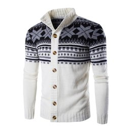 Wholesale Mens Cardigan Sweaters Autumn Warm Christmas Sweater Men Fashion Printed Jacket Coat Casual Stand Collar Knitting