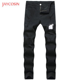 fashion jeans Canada - Jaycosin New Men Jeans Black Classic Fashion Denim Pencil Jeans Pants men's Casual Patchwork High Quality Slim Fit Trousers