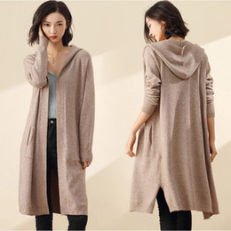 $enCountryForm.capitalKeyWord Australia - Long Cardigan Women Sweater Winter 2018 New Casual Autumn Long Sleeve Knitted Kimono Cardigan With A Hood Female Big Coat Jacket T190831