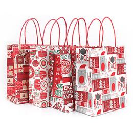 Reusable Christmas Gift Bags Australia - 4Pcs Christmas Grocery Storage Paper Reusable Large Capacity Cute Handbag Durable Gift Bag