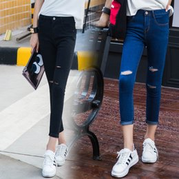 3f0aa72a721 2019 Spring Hole Skinny Ripped Jeans Women Cool Denim Knee Cut High Waist  Pants Female Skinny Black Casual Jeans Ankle-length