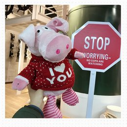 Cute Stuffed Animal Pig Australia - 20170727 Hot Sale Stuffed Animals Pig Cute Plush Toy Doll Holding New Year Gift Free Shipping