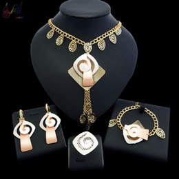 dubai gold pendant sets Australia - Yulaili Top Quality Unique Design African Metal Pendant Necklace Earrings Bracelet Ring Dubai Gold Jewelry Sets for Women Anniversary Gifts
