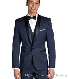Wholesale high collar shawl resale online - High Quality Navy Blue Groom Tuxedos Shawl Collar Men Wedding Prom Dress Blazer Party Business Suits Jacket Pants Vest Tie J669