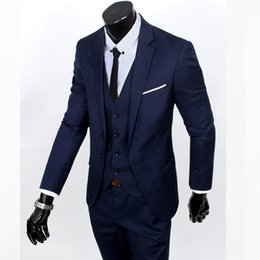 groomsman grey three piece suits NZ - New 2019 Spring autumn high-quality business casual suit three-piece (top+vest+pants) groom groomsmen Blazer wedding suits S-6XL