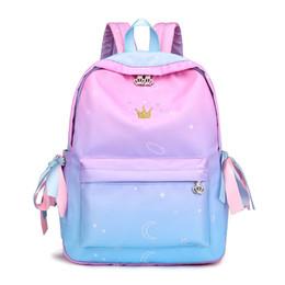 $enCountryForm.capitalKeyWord NZ - 2019 New Preppy Style Ribbon Backpack Crown Embroidery Gradient School Backpacks For Teenage Girls Schoolbag Mochilas Feminina Y19051405