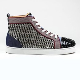Plastic Lacing Designs Australia - Designs Fashion Spiked Red Bottom Men's Sneaker Luxury Party Wedding Shoes Genuine Leather Spikes Lace-up Casual Shoes Outdoor Footwear Shoe
