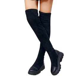 RubbeR thigh length boots online shopping - Knee Length Boots Women s Fashion Platform Winter Slip On Flock Sexy Warm boots Lady Female Slim Thigh High shoes Botas