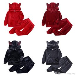 double shirt designs Australia - Spring Free DHL Newest Designs Kids Boys Girls Null Tracksuits Sports Autumn Winter Velvet Children Clothing Suits Little Girls Hoodies Sets