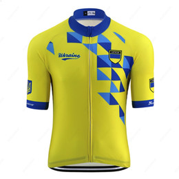 cycling jersey flags Canada - Summer 2020 New Ukraine national team emblem flag yellow cycling jersey men road bike clothing racing clothes mountain bike jersey