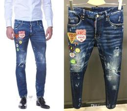8dac3147bab Nuevo ⠀ dsquared2 ⠀ dsquared ⠀ dsq ⠀ Hoyo Pierre Rock Biker Jeans Hombres  Ripped Denim Tearing Jeans Pantalones Negro Barato Jeans para hombre ...