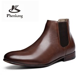 Discount boot hooks - Phenkang Fashion Leather Boots Men Winter Autumn Shoes Retro slip on Ankle Boots Plus Size Waterproof shoes