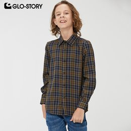 $enCountryForm.capitalKeyWord Australia - GLO-STORY Teenage Children Boy's Plaid Shirts Kids Boy Long Sleeve Checked Cotton Shirt Tops Clothing BCS-8490
