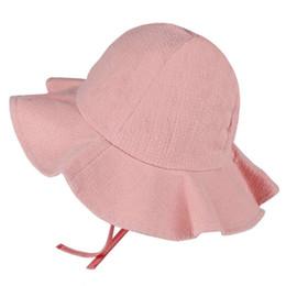 afb5044d38066 KLV 2018 Wide Brim Baby Sun Hat Cotton Kids Bucket Cap Summer Beach Girls  Travel Outdoor D19011106