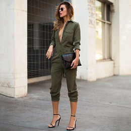 8d84250efa9 Sexy Women New Fashion Slim Bodycon Jumpsuit Long Sleeve Army Green Solid  Casual Bodysuit Ladies Vintage Romper Long Jumpsuit