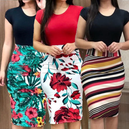 Club Clothes for girls online shopping - Women Dresses Short Sleeve Floral Print Patchwork Slim Bodycon Dress for Girls Sexy Summer Clothes Cocktail Party Pencil Dress