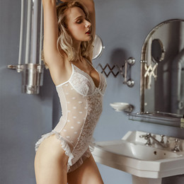 4b7a69ecc94e Perfering 2019 hot sale transparent mesh sexy jumpsuit sheer lace bodysuit  women backless catsuit straps bodysuits thong