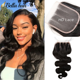 Wholesale 3 Part 4x4 HD Swiss Lace Closure Human Hair Body Wave with Baby Hair Closure Peruvian Brazilian Indian Malaysian