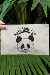 panda makeup Australia - Angemiel Clutch Make Some Fun Panda Portfolio Hand Makeup Bag