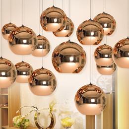 Wholesale Copper Kitchen Australia - Full set LED Pendant Lamp Copper Sliver Shade Mirror Chandelier Light E27 Bulb Modern Christmas Chandeliers Glass Ball droplight Lighting