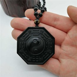 bagua necklace UK - Drop Shipping Natural Black Obsidian Hand Carved Chinese Taiji BaGua Lucky Energy Necklace Pendant Fashion Jewelry