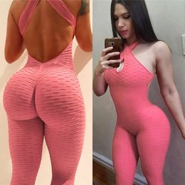 sexy exercise clothing Canada - Exercise Clothing for Women Sexy Backless Yoga Exercise Pants jumpsuits Carry Buttock Breathable Quick dry