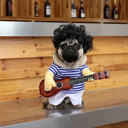 dog guitar 2020 - Free DHL Pet Dog Cat Halloween Costumes Guitar Party Christmas Special Events Costume Funny Pet Stripe Guitar Outfit Clo