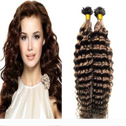 curly hair tips Canada - #6 Medium Brown keratin hair extension 100g strands extensions keratine U Tip Hair Extensions Deep Curly Human Hair Extensions