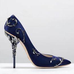 Leaf Wedding Dresses Australia - Luxury Stunning Pointed Toe Satin High Heels Ornamental Filigree Leaves Brial Dress Wedding Shoes. Metallic Spiralling Eden Heel Pumps