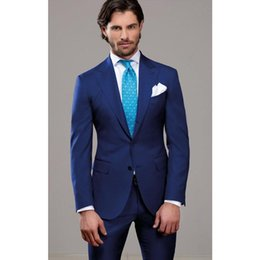 Slim Grey Suits Blue Ties Australia - Custom Made Blue Color Slim Fit Two Buttons Business Groom Tuxedo Process Lapel Groomsmen Men Wedding Suits Jackets+Pant+Tie