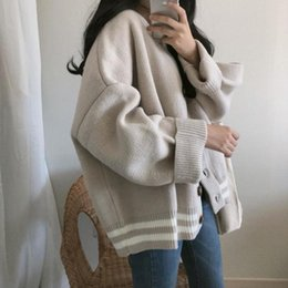 $enCountryForm.capitalKeyWord Australia - Taotrees Lady Thick Cardigan Loose Sweater Jacket Knitted Leisure Outwear Coat Womans Cardigan Tops Outwear