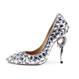 $enCountryForm.capitalKeyWord Australia - Fashionable European and American high grade leather shoes seahorse with large diamond high heels with pointed tip and shallow mouth bridal