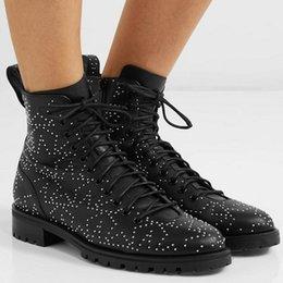 $enCountryForm.capitalKeyWord Australia - Rivets Decor Pentagram Pattern Women Genuine Leather Boots Square Heel Round Toe Summer Cool Lace Up Ankle Boots Women