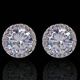 Crystal Stud Metal Australia - Fashion Women Girl White Rhinestone Crystal Round Metal Silver Zircon Ear Stud Earrings Patry Earring Jewelry free shipping