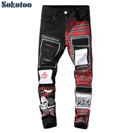 $enCountryForm.capitalKeyWord NZ - Sokotoo Men's Skull Printed Scottish Plaid Patchwork Jeans Trendy Patches Design Black Ripped Distressed Denim Long Pants Q1904017