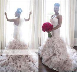 Organza Vintage Dress Australia - Luxury Arabic Sweetheart LighT Blush Mermaid Wedding Dresses 2019 Vintage Sexy Low Back Ruffles Organza Court Train Bridal Gowns Custom Made