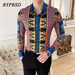 mens blue collar slim shirt Canada - Luxury Men Dress Shirts 2020 Brand Designer Print Baroque Long Sleeve Floral Mens Shirts Casual Slim fit Social Chemise Homme