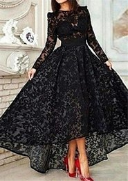 Wholesale Long Sleeve Formal Dresses Vestido De Festa Longo Sale New Black Lace Evening Dresses High Low Prom Dresses