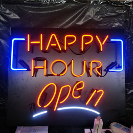 $enCountryForm.capitalKeyWord NZ - Acrylic Board HAPPY HOUR Open Neon Sign Light Wall Advertising Bar Entertainment Club Decoration Display Real Glass Lamp 17'' 24'' 30''40''