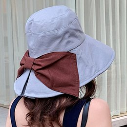 Sun hatS big brimS online shopping - Women Big Bow Fisherman Hats Lady Summer Portable Foldable Wide Brim Sun Caps Outdoor Casual Beach Bucket Sun Hats LJJT675