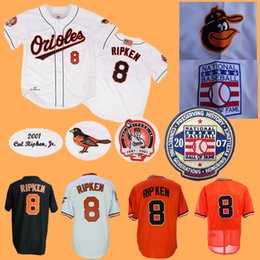 Button downs online shopping - Cal Ripken Jersey Hall Of Fame Home Away All Stitched Baltimore Basebll Jerseys White Orange Black Pullover Button Down
