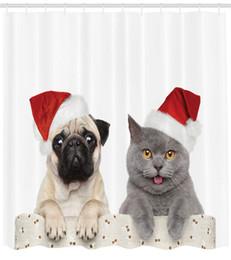 $enCountryForm.capitalKeyWord Canada - DIY Pug Shower Curtain Christmas Themed Animal Photography with a Cat and Dog Wearing Santa Hats Print Fabric Bathroom Decor Set with Hooks