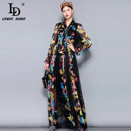 24a740af32ab Ld Linda Della Runway Maxi Dress Plus Size Women's Long Sleeve Bow Collar  Vintage Floral Print Chiffon Party Holiday Long Dress J190531