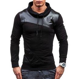 $enCountryForm.capitalKeyWord NZ - Brand 2019 Hoodie Soild Color Pu Leather Hoodies Men Fashion Tracksuit Male Sweatshirt Hoody Mens Purpose Tour